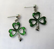 Silver Plated Green Irish Shamrock Clover Earrings # 0548 St. Patrick's Day