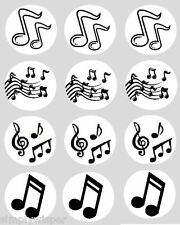 12 Black Music Notes Cupcake Decoration Edible Cake Toppers PreCut 40mm Musical