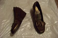 womens victoria spencer moxie bronze buckle wedge heels shoes size 9 1/2