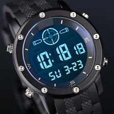 INFANTRY Mens LCD Digital Wrist Watch Sport Black Rubber Tactical Army Stopwatch