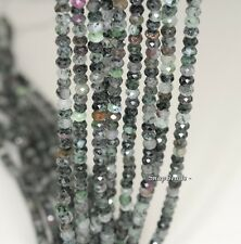 4X3MM BLACK GREEN RUBY ZOISITE GEMSTONE B FACETED RONDELLE LOOSE BEADS 7.5""