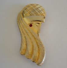 Vintage Pin Brooch Silhouette Woman Art Deco Red Stone Gold Tone MJ ENT