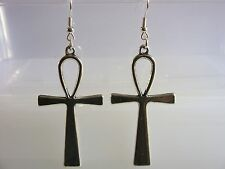 A Pair of Egyptian Ankh Cross Tibetan Silver charm Earrings Kitsch Retro Vintage