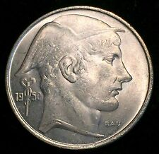 1950 Silver Belgium 20 Frank, (20 Francs) Helmeted Mercury Coin - Mint State -