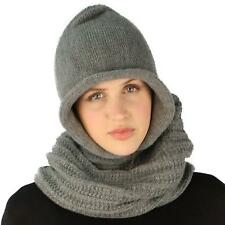 Winter Pullover Knit Loop Tube Infinity Hood Cowl Turtleneck Scarf Ski Hat Gray