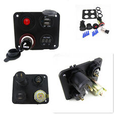 Car Marine Boat 4 in 1 2 USB Socket+RV Breaker Voltmeter Rocker Panel Switch