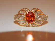 Gorgeous Unique Orange Spessartite Garnet Diamond Ring 14k Engagement 1.67 tcw