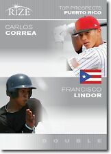 "CARLOS CORREA & FRANCISCO LINDOR 2012 LEAF RIZE ""TOP PROSPECTS"" ROOKIE CARD!"