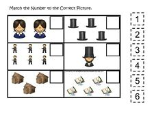 Abraham Lincoln themed Match the Number laminated game. 1 board, 6 pieces.
