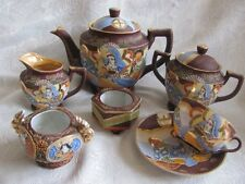 ANTIQUE JAPANESE SATSUMA MORIAGE PORCELAIN IMMORTALS 9 Piece TEA SET teapot cup