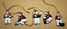 Six Coca-Cola Polar Bear Pit Crew Ornaments