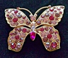 Monet Gold Tone Pink Crystal Butterfly Brooch/Pin - Signed