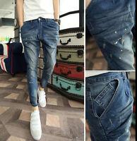 Boys New Painted Jean Trousers Mens Denim Jeans Ninth Pants Slim Fit Harem Pants