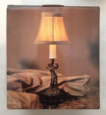 Golf Mini Night Light Lamp Antique Bronze Silk Shade Polyresin New In Box