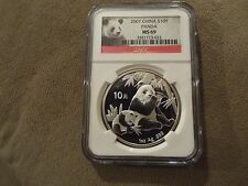 2007 SILVER PANDA CHINA S10Y 1oz - NGC MS69 NICE