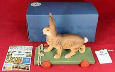 Marolin Paper Mache Brown Easter Bunny Rabbit Pull Toy w/ Box - Vintage Style
