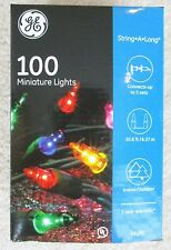 NEW GE Miniature INDOOR OUTDOOR HOLIDAY CHRISTMAS STRING A LONG COLOR LIGHTS 100