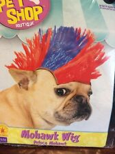 Mohawk/Punk Rock Wig Halloween Costume For Dogs S/M Red And Blue