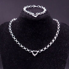 New charm For Women's Silver Stainless Steel Heart Necklace Bracelet Round Chain