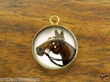 Vintage gold THOROUGHBRED RACE HORSE REVERSE CARVED INTAGLIO GLASS charm #6