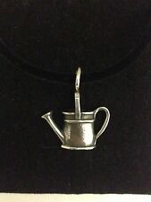 Watering Can R197 English Pewter Emblem on a Black Cord Necklace Handmade