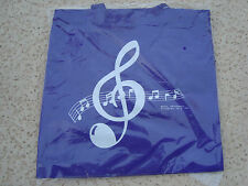 "MUSIC Tote Bag Nylon PURPLE 14""X13"" Great Music Gift Students/Teachers NEW"
