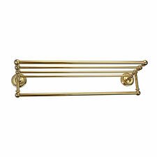 Luxury Double Gold  Bathroom Wall Mounted Bar Towel Rail Holder Rack Shelf