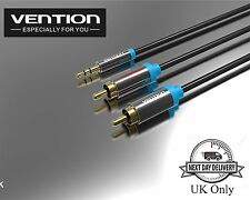 New VENTION Stereo 3.5mm Jack Plug to Twin 2 x RCA PHONO Audio Lead Cable - 3M