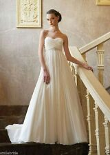2014 Chiffon Empire Waist Beads Maternity Bridal Wedding Dress Custom Made2-26