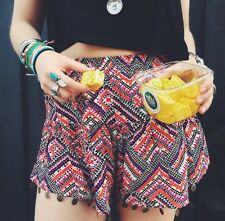 LF high wasited coin detailed boho aztec print elasticized shorts NWT XS