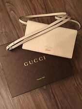 Gucci Swing Dollar Wallet On Strap Cream Leather Crossbody Purse NEW