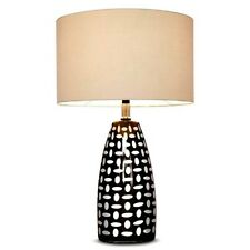 Threshold Table Lamp & Shade White Modern Living Home Charcoal Gray Mod NEW