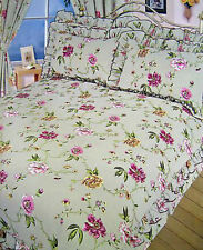SINGLE BED DUVET COVER SET VINTAGE FRILLED FLORAL OLIVE GREEN POLYCOTTON BEDDING