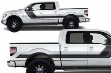 Vinyl Decal Rally Stripe Wrap Kit for Ford F-150 2009-2014 Gloss Black and Gray