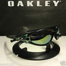 VINTAGE OAKLEY NEW STRAIGHT JACKET JET BLACK-EMERALD FLAMES EMERALD IRIDIUM NEW
