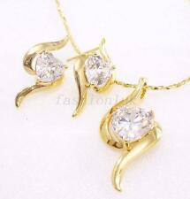 Women New 14K Yellow Gold Plated Big Love CZ Cubic Stud Earrings Necklace Set