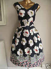 MONSOON NAVY/BLACK WHITE FLORAL 50's FLUER PRINT WEDDING PROM SUMMER DRESS 14