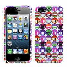 For iPhone 5 5S SE HARD Protector Case Snap On Phone Cover All Smiles Remix
