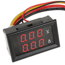 Car Motor DC 0-100V 10A Red LED Dual Display Ammeter Voltmeter Volt Amp Meter