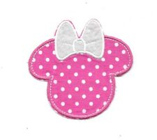 Minnie Mouse Face Pink Polkodots Bow Iron on Patches/Sew On/Applique/Embroidered