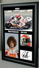 "Marco Simoncelli Motor Cycle Framed Canvas Tribute Print Signed "" Great Gift"""
