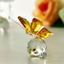 New Crystal Glass Lovely Yellow Butterfly Parked Clear Ball Child Gift Deco
