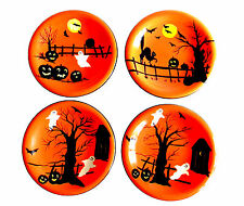 "Sakura Haunted Hideaway Appetizer Dessert Plates Set of 4 8"" Dia Halloween"