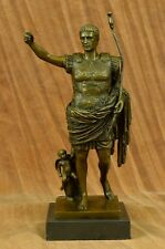 Emperor Augustus Caesar Huge Home Rome Bronze Warrior Statue Marble Sculpture NR