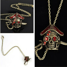 Crystal Retro Rhinestone Caribbean Pirate Head Skull Pendant Necklace Jewelry
