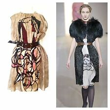 ** MARNI ** ABSTRACT DRESS With Underdress And Patent Leather Belt (42)