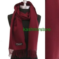 New 100% CASHMERE SCARF MADE IN SCOTLAND SOLID Wine SUPER SOFT UNISEX #A01