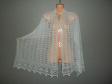 Stunning 100% pure cashmere lace shawl/scarf.  col. PALE BLUE