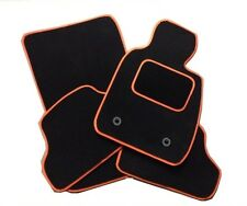 KIA PICANTO 2011 ONWARDS BLACK TAILORED CAR MATS WITH ORANGE TRIM