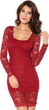 Women's Long Sleeve Lace Red Mini Dress, Red, S/M 4-8